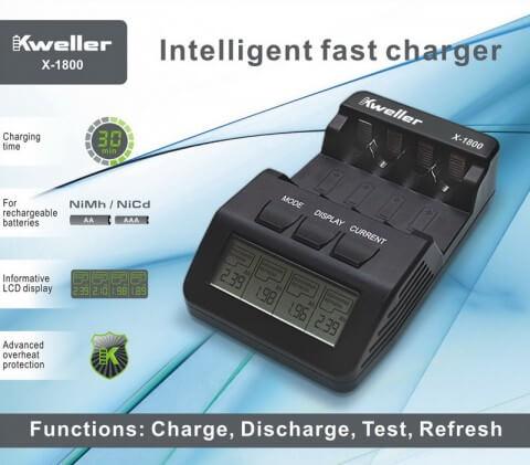 Kweller X-1800 - интеллектуальное зарядное устройство для аккумуляторов АА/ААА